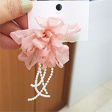 53852耳钉式, 植物花 珠子 珍珠 流苏 不对称 后挂式