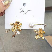 53923耳钉式, 植物花 螺旋 珠子 珍珠 不对称 S形