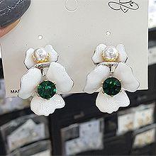 53965耳钉式, 植物花 圆形 珍珠 珠子