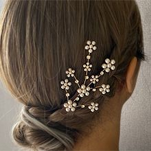 53978边夹顶夹, 植物花 树枝 珍珠 珠子 鸭嘴夹