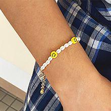 53861穿珠链, 单层链椭圆形 珍珠 珠子 笑脸 圆形