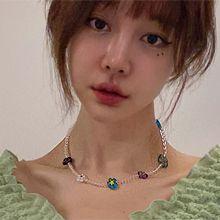 53858穿珠链, 单层链, 植物珠子 透明 花
