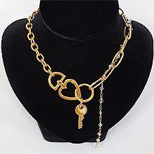 54057耳钉式, 心形, 锁具心形 椭圆形宁 珠子 钥匙 圆环 半圆