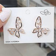 54059耳钉式, 动物蝴蝶  珠子 珍珠