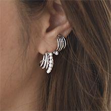 54082耳钉式, 耳夹C形 珍珠 珠子 三件套 耳夹