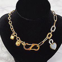54055锁链形, 单层链, 心形, 锁具心形 圆形 椭圆形 珠子 锁