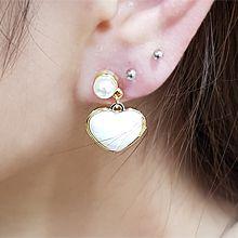 54792耳钉式, 蝴蝶结, 心形心形 珠子 珍珠 不对称 蝴蝶结