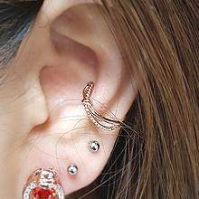 54822耳夹, 蝴蝶结蝴蝶结 整件925银 耳夹