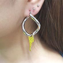 54826耳圈耳扣, 锁具钥匙 字母 数字 水滴形 椭圆形