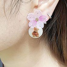 54835耳钉式, 植物, 动物花 小熊 圆形 后挂式