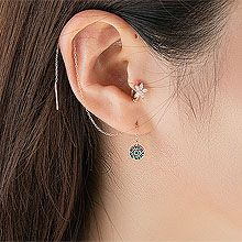 54848耳钉式, 其他分类特征, 平面/立体几何图形, 其他形状圆形 锁链  耳线
