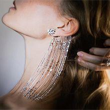 54913耳钉式, 植物花 珍珠 流苏 不对称 长款 珍珠 珠子