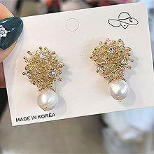 54955耳钉式, 植物流苏 珍珠 珠子 花 圆形