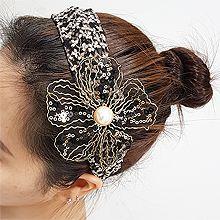 54878发箍发带, 蝴蝶结, 植物, 平面/立体几何图形, 其他形状蝴蝶结 花 圆形 椭圆形  亮片 椭圆形 发箍 蕾丝