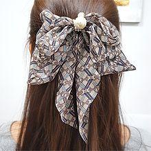 54971边夹顶夹, 蝴蝶结蝴蝶结 珍珠 珠子 绳子 方格 条纹 弹簧夹