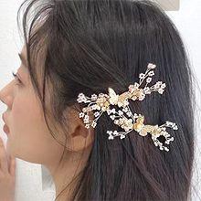 54976边夹顶夹, 植物, 动物蝴蝶 树枝 珍珠 珠子 弹簧夹 花
