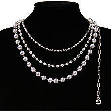 54862锁链形, 穿珠链, 多层链, 其他分类特征, 平面/立体几何图形, 其他形状圆形 珍珠 锁链 珠子 三层连