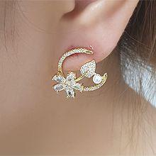 56246耳钉式, 心形, 字母数字/符号, 植物花 叶子 心形 珍珠 珠子 数字 C形