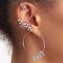 56257耳钉式, 耳夹叶子 珍珠 珠子  耳夹