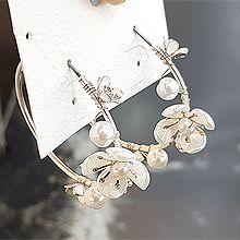 56295耳圈耳扣, 植物花 珍珠 珠子