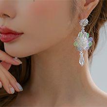 56305耳钉式, 植物花 水滴形 亮片 珠子