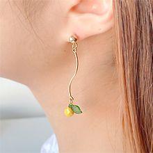 55071耳钉式, 植物叶子 珠子 S形 樱桃 苹果