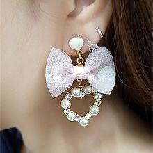 55081耳�式, 蝴蝶�Y, 心形心形 蝴蝶�Y 珍珠 珠子 亮片