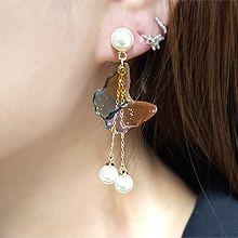 55092耳钉式, 动物蝴蝶 流苏 珍珠 珠子