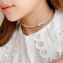 55069穿珠链, 单层链, 蝴蝶结蝴蝶结 珍珠 珠子
