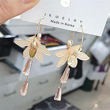 55172耳圈耳扣, 植物花 珍珠 珠子 水滴形