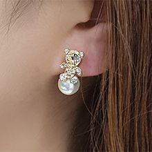 55219耳钉式, 动物熊 珠子 珍珠 后挂式