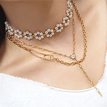 55138锁链形, 多层链, 植物花 珍珠 珠子 日字 三层