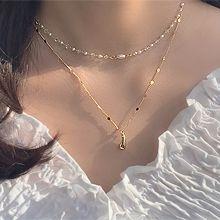 55150锁链形, 穿珠链, 多层链水滴形 珍珠 珠子 两件套 椭圆形