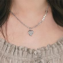 55152珠仔链, 单层链心形 天然珍珠 珠子 椭圆形