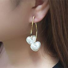 55316耳钉式, 心形心形 后挂式 弧形