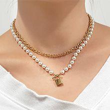 55323锁链形, 穿珠链, 单层链, 锁具珠子 珍珠 锁 圆柱形