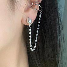 55343耳钉式, 耳夹珍珠 珠子 锁链 不对称 耳夹