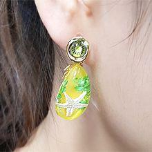 55411耳钉式, 植物椭圆形 水果 海星  火龙果 猕猴桃 椰子树 橙子