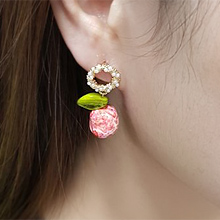 55415耳钉式, 植物圆环 珍珠 珠子 叶子