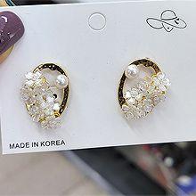 55431耳钉式, 植物椭圆形 整件925银 花 天然珍珠