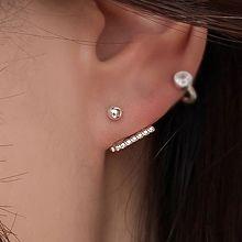 55442耳钉式后挂式 长方形 整件925银 耳骨耳钉