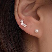 55443耳钉式珍珠 珠子 弧形 耳骨耳钉 整件925银