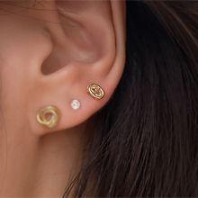 55444耳钉式日字 椭圆形 耳骨耳钉 整件925银