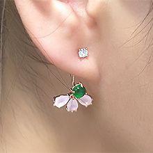 55463耳钉式, 植物圆形 水滴形 花 叶子 后挂式