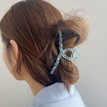 韩国头饰品发饰发夹发卡55468爪夹交叉 水滴形 透明 圆点
