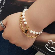 55325穿珠链, 单层链, 锁具锁 珠子 珍珠 长方形 双层