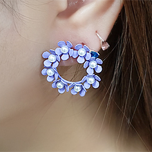 55476耳钉式, 植物花 珍珠 珠子 圆环