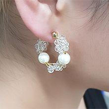 55484耳钉式C形 珍珠 珠子