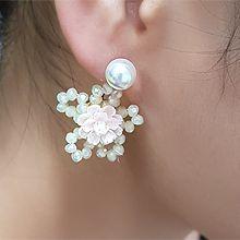 55528耳钉式, 植物花 珠子 珍珠 后挂式