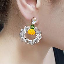 55533耳钉式, 食物/饮料长方形 西瓜 南瓜 柠檬 樱桃 珠子 圆环 圆形